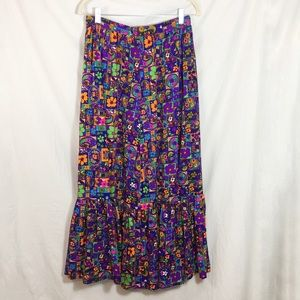 Vintage 1960s Colorful Maxi Skirt